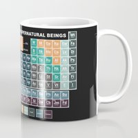 periodic table Mugs featuring Periodic Table of Supernatural Beings by Sarah