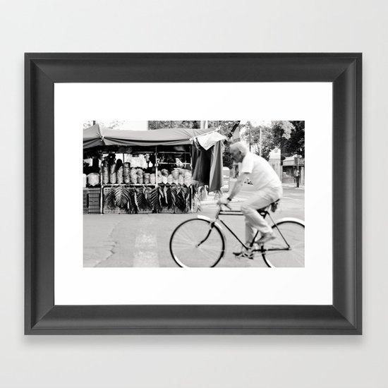 Blur by biker in Mexico City Framed Art Print