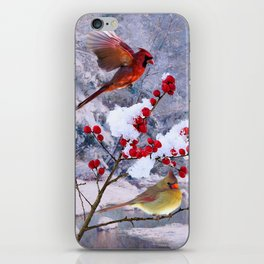 Red Birds of Christmas iPhone Skin