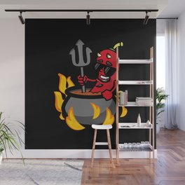 Funny Illustration Chili Pepper Wall Mural