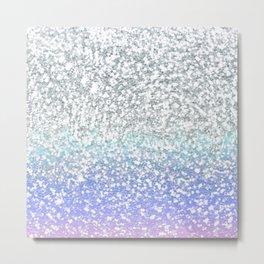 Faux Silver Glitter Gradient  Metal Print
