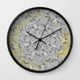 Yellow & White Mandalas on Grey Wall Clock