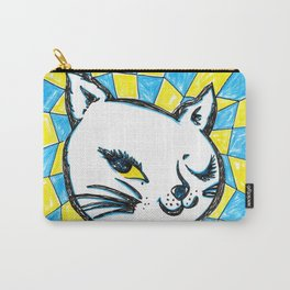 Winking Kitty Blue & Yellow Background Carry-All Pouch