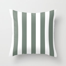 Smoke grey - solid color - white vertical lines pattern Throw Pillow