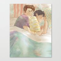 klaine Canvas Prints featuring klaine cuddles by suitfer
