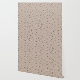 Neutral Memphis Squiggle Pattern Wallpaper