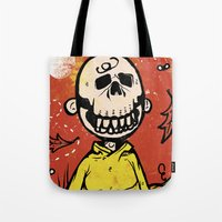 charlie brown Tote Bags featuring Charlie Brown - The Original Pumpkin King by Neil McKinney