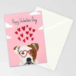 Pitbull dog breed heart glasses love hearts valentines day pibble lovers Stationery Cards