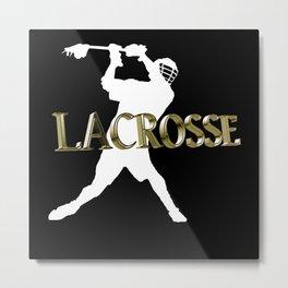 Lacrosse, Lax, Skull Player Coach Fan Shirt Gift Metal Print
