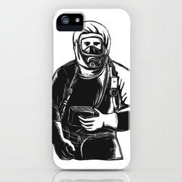 EMT Wearing Hazmat Suit Scratchboard iPhone Case
