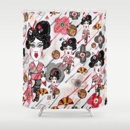 Geisha in the Rainy Garden Shower Curtain