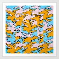 Fringed Flying Figures Tessellation Art Print