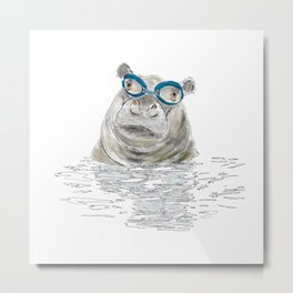 Hippo with swimming goggles Metal Print