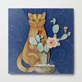 Cat and Cactus Metal Print