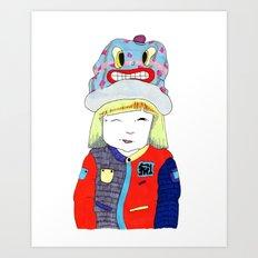 Wink Girl Art Print