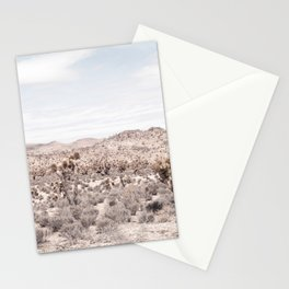 Cactus Landscape // Photograph of Desert Plains Cloudy Sky Tan and Yellow Stationery Cards