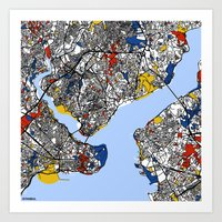 istanbul Art Prints featuring Istanbul by Mondrian Maps