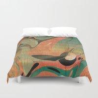 utah Duvet Covers featuring Abstract Painting ; Utah #2 by bialy kot art
