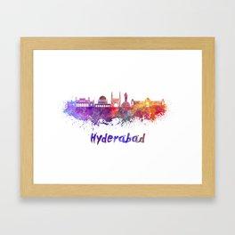Hyderabad skyline in watercolor Framed Art Print