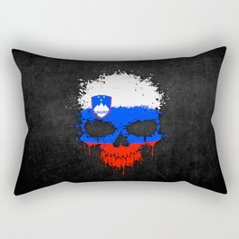 Flag of Slovenia on a Chaotic Splatter Skull Rectangular Pillow