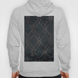 Modern Deco Rose Gold and Marble Geometric Dark Hoody