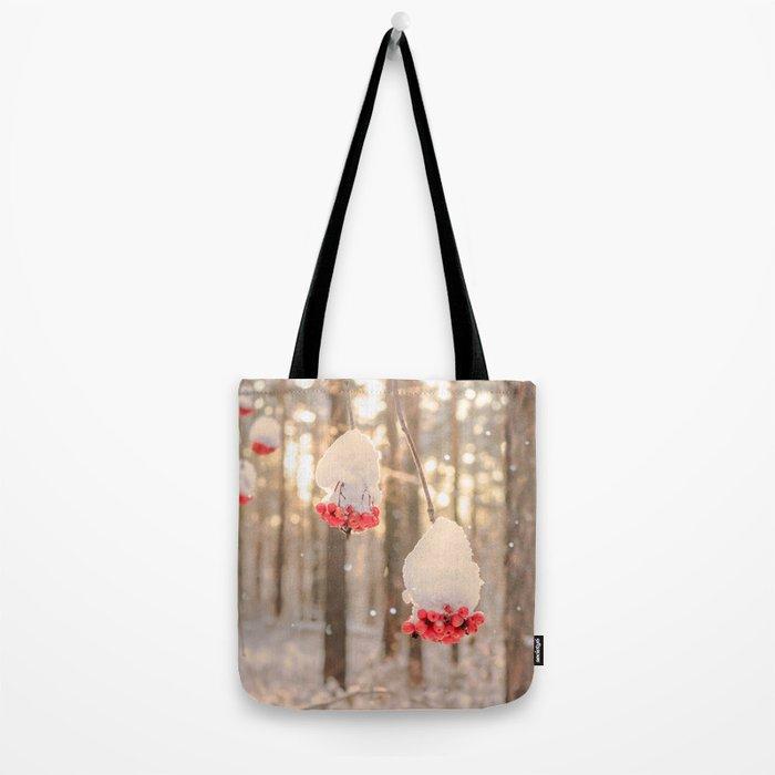 Rowan berries in the snow Tote Bag