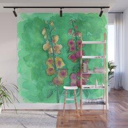 Hollyhock Foxglove Watercolor Honey & Berry on Green Wall Mural
