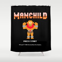 8Bit Manchild Shower Curtain