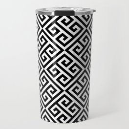 Black & White Ornate Twists Geometric Pattern Travel Mug