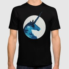 Blue Unicorn Mens Fitted Tee Black SMALL