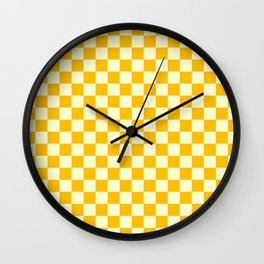 Cream Yellow and Amber Orange Checkerboard Wall Clock