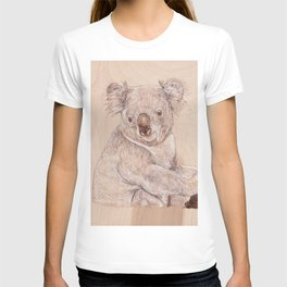 Koala Bear - Drawing by Burning on Wood - Pyrography Art T-shirt