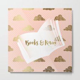Books & Rainclouds (Peach) Metal Print