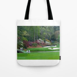 Golf's Amen Corner Augusta Georgia - Golfers on Bridge Tote Bag