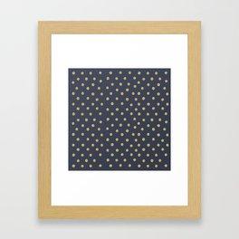 Gold Dots on Blue Framed Art Print