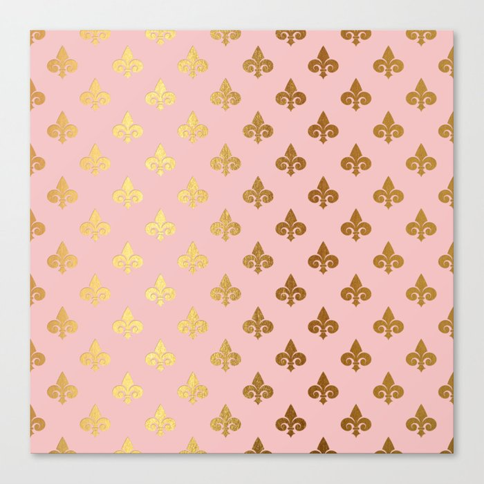 Royal gold ornaments on pink background Canvas Print