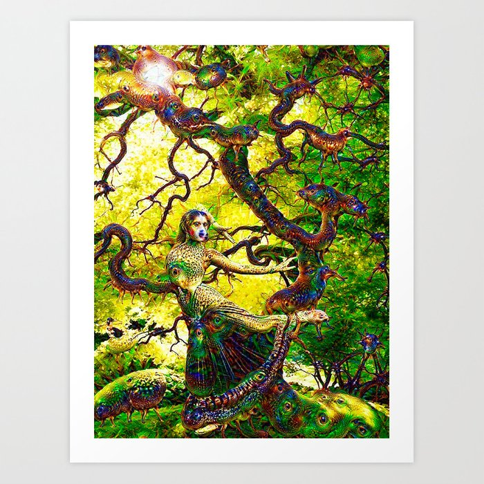 """Beneath the Bodhi Tree 2.0"" - Deep Dream Art Print"