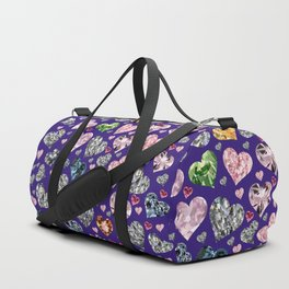 Heart Diamonds are Forever Love Violet Duffle Bag