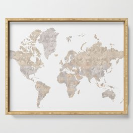 """World map in gray and brown watercolor """"Abey"""" Serving Tray"""