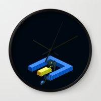 tron Wall Clocks featuring Tron Wall by Krzysztof Kaluszka