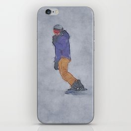 Sliding into Home - Winter Snowboarder iPhone Skin