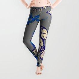 Blue Butterflies Blue & Purple Grey Pattern Abstract Leggings