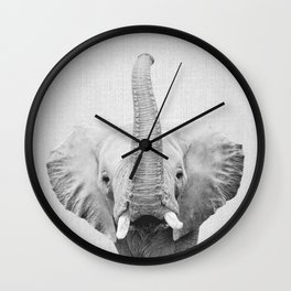 Elephant 2 - Black & White Wall Clock