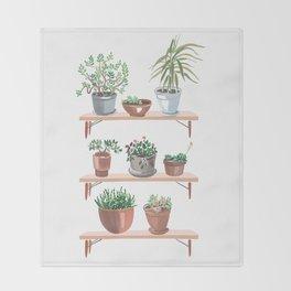flowerpots on the shelves Throw Blanket