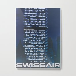 New York City Retro Travel Poster Metal Print