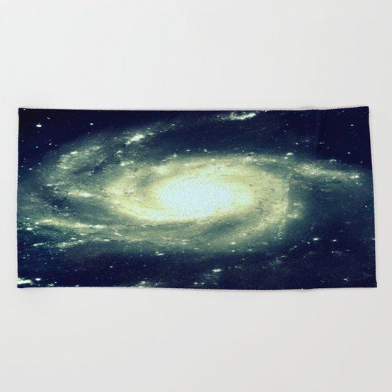 Ivory Teal Pinwheel Spiral Galaxy Space Beach Towel