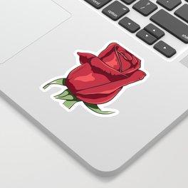 Red Ecuador Rose Flower Sticker