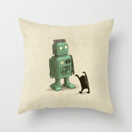 Robot vs Alien Throw Pillow