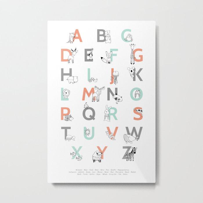 Animal Alphabet Metal Print