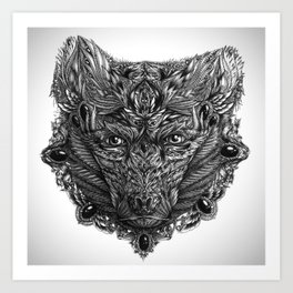 Ornament Bear - Black & White  Art Print